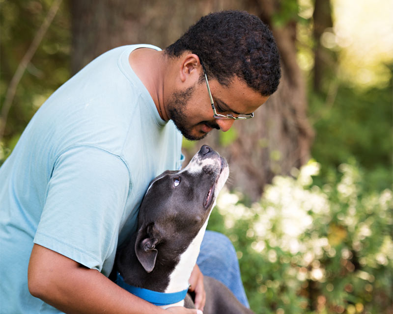 Black and white pittie type dog looking up at a man wearing a blue shirt. There's trees and greenery in the background.