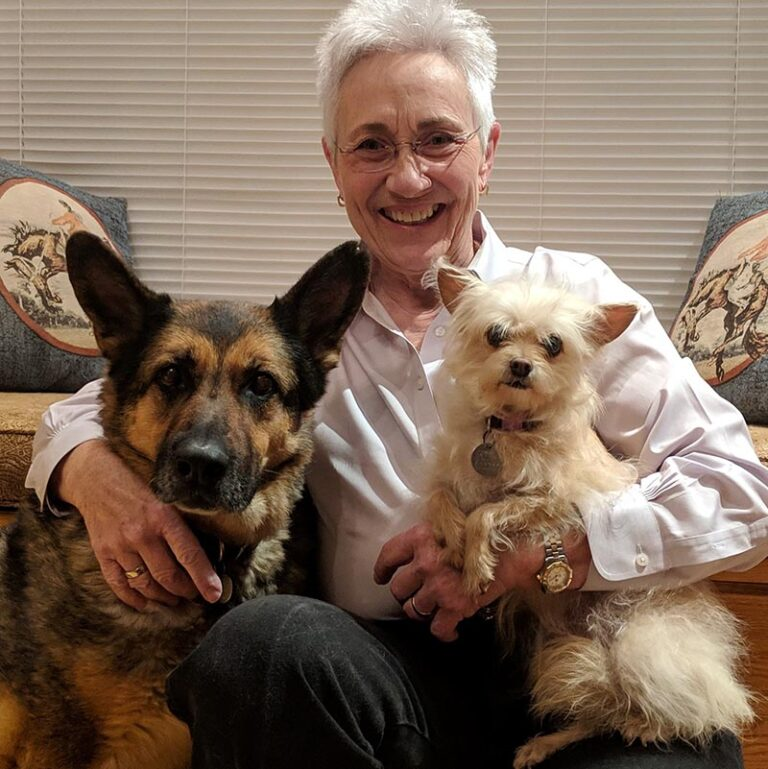 Brenda Barnette with two dogs