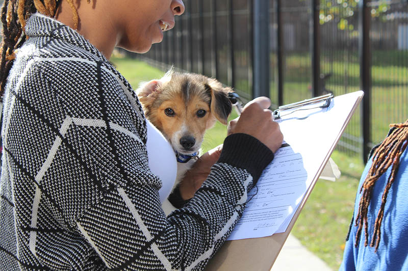 black woman signing paperwork holding small puppy