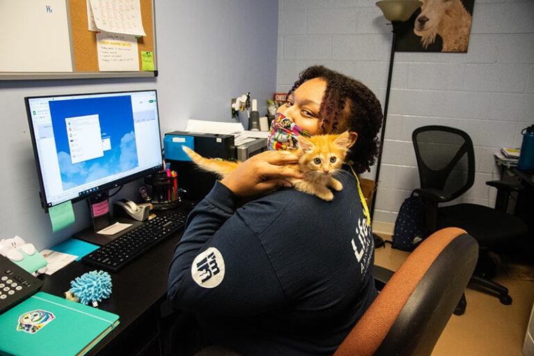 Woman sitting at a desk, snuggling a kitten.