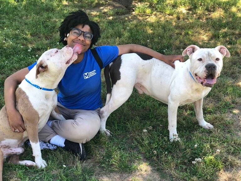 Staff member with two dogs, one is licking her face.