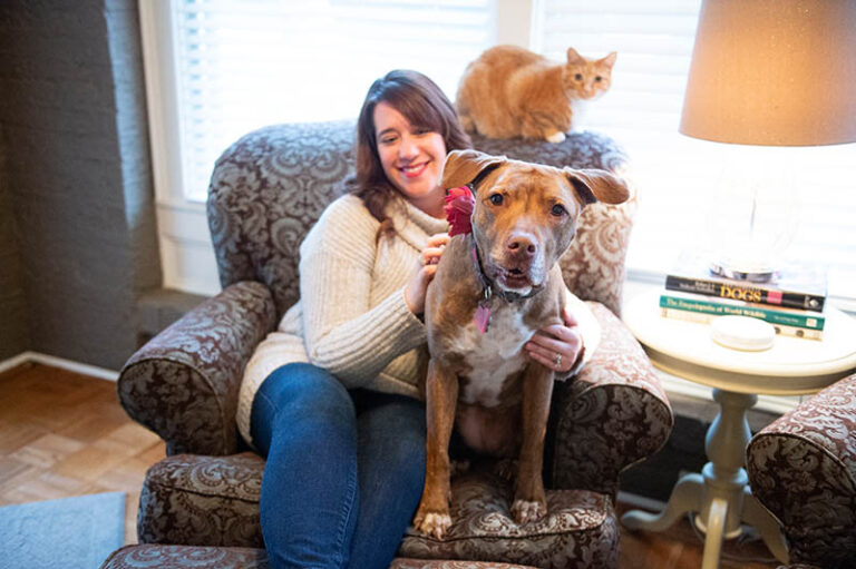 The Problem with Pit Bulls - Pit bull type dog sitting on chair with a woman, cat sitting on chair behind.