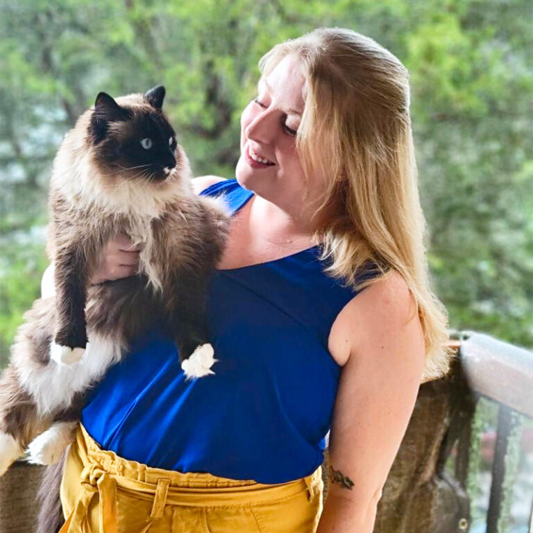 Amanda Foster holding a cat