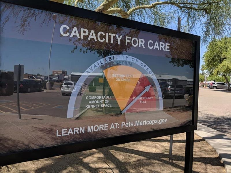 Capacity for Care Sign with dial showing that the shelter is dangerously full.